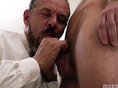 The mormon elder wraps his hands around this hot gay stud's cock and whacks him off hard. He is ready to blow very soon. Looks like he gets to have a nice blowjob as well. This is hot gay action at its finest.