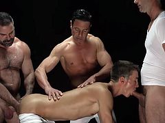 With Mormons, it never looks simply like sex. It always seems to be a part of some ritual or ceremony. Either way, it's hot seeing this guy having to suck and fuck three older, higher-level men in the organization. Enjoy this steamy scene!