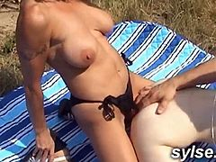 2 MILFs and young boy in threesome outdoor