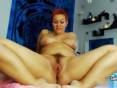 Curvy Latina beauty touches her pussy on camera