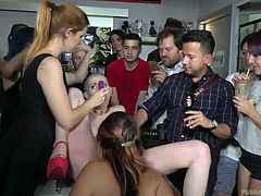 Right in the middle of a crowded bar, this blonde with a shaved head gets roughly fucked by a stranger. Big and hard cock penetrates her swollen pussy, while completely unfamiliar to her people, shoot everything that happens on their phones. Hot stuff!