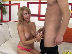 Sexy granny and a guy kiss each other She gives him a fantastic blowjob Then he fucks her mature pussy deep in many positions He cums in her mouth