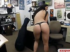 Sexy lady satisfied by the pawn keeper by fucking her