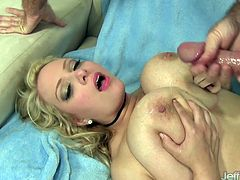 Blonde gets her pussy rubbed tits sucked and ass kissed She sucks his dick and then gets her plump pussy fucked good and deep in many positions He cum on her tits