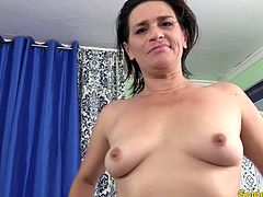 Horny granny gets naked and sucks and bite a machine dildo Then she lets the machine fuck her mature pussy deep in many positions and speeds until she has an orgasm