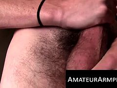 He enjoys jerking off his unshaved dick