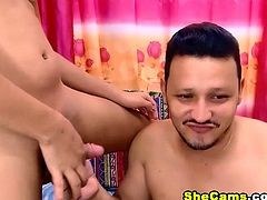 An attractive and appealing brunette sizzles in this hot webcam show. Together with her guy these horny beings venture into a hot and lustful sexcapade. A good looking tranny gets a nice handjob and blowjob from her man. She receives a wet blowjob from this guy as she gropes her tight cock hard. The good looking ladyboy loved it so much that his big cock is being sucked. This playful couple gets playful and kinky with one another and they also play with their own hard rods. The guy deepthroats on the dick inside his mouth. This is a blowjob webcam show that you sure do not want to miss