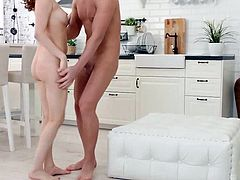 Shes a super hot housewife, whos always sexually available to her new husband. Hes a good lover, too, taking the time to slowly undress her, licking Emilys freshly shaven pussy until shes dripping with desire before he fucks her brains out all over the kitchen.