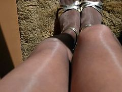 Upskirt Pussy in Shiny Nude Pantyhose