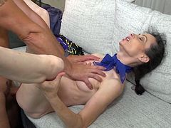 This skinny mature lady needs a big cock deep in her pussy right now. She simply needs a good fucking. Her man plowed her so deep, that she is dripping her juices all over his massive and rock hard erection.