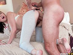 Nickey is a happily married woman, although she's not entirely faithful. She's with her personal trainer, and his big cock gets hard every time he's with her. He wants that pussy, and after some rubbing, her wet hole is exposed. Tearing her pants, he gets behind her and drills her hard.