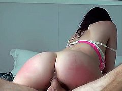 Her huge ass is so big that her mans big dick completely disappears in it as she rides it. She really soaks up that boner with that large booty.