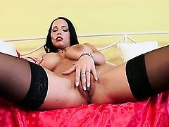 Laura Lion with juicy knockers and clean twat plays with her moist muff after stripping, Pinkrod.com