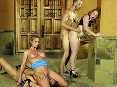 Rachel was double penetrated right on the threshold of her house. She was riding her husband's dick, when their new neighbor shoved his hard penis in her asshole. This hardcore foursome is really something that deserves your attention and I promise, you will not be disappointed.