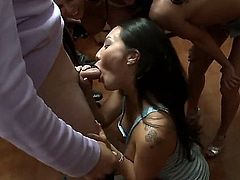 Ava Addams, Diamond Kitty and Asa Akira pull out their hot boobs and bare her sexy bottoms before it begins. They suck cocks for curious college girls to watch and repeat at a dorm party. Enjoy!