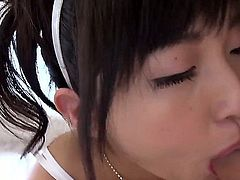 Nice Japanese girl Maria Kotobuki in white lace lingerie  gives sensual blowjob and then takes hard dick up her tight asian pussy. She rides on top of cock until guy ejaculates.