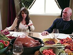 Looks like this Sunday dinner will soon turn into an orgy. The fact is that Madison got so horny, that she jumped on Johnny right during the meal and started to suck on his dick, sitting under the table, while none of the guests notices. Join us and enjoy the unpredictable plot twists!
