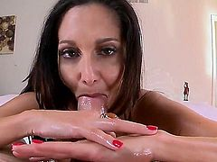 Ava Addams is a hot bodied MILF with bubbly ass and perfect huge jugs! She  takes thick cock in her hot mouth and then gets her wet pink fuck hole stuffed. Then she gives titjob man won't soon forget.