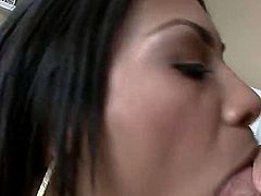 Raven haired latina MILF Cassandra Cruz in white t-shirt bares hot hot boobs and gags on fat dick for your viewing enjoyment. Thick dicked guy in jeans bangs her mouth with no mercy.