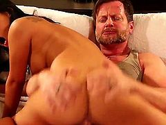 Hot asian slut Asa Akira spreads her legs wide open and gets her trimmed pussy royally fucked after great deep blowjob.  He drills her tight exotic hole and licks her asshole.