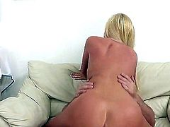 Dangerously sexy long haired blonde Tasha Reign has a good time banging with Dr. John Strong. Busty lady takes his meat pole balls deep in her soaking wet pink fuck hole.