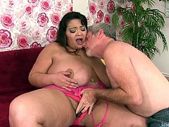 Asian BBW and a mature guy kiss with each other She gets her tits sucked pussy rubbed and ass licked Then gets her plump pussy pounded deep and hard in many positions He cums on her tits