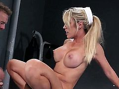 Beautiful big boobed gymnast Capri Cavanni is totally naked and gets her dripping wet pink pussy ruthlessly fucked by Erik Everhard. She gets banged like a cheap whore at the gym.