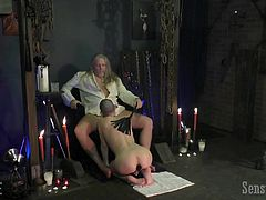 I do not know the best way to express gratitude and respect to a man, than the one that Abigail Dupree so willingly shows us. Sitting on her knees, she licks, sucks and swallows her master's penis so sensual and gentle, that many women should learn from her... Meanwhile, he is stroking her bare back with a braid.