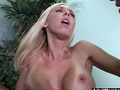 Blonde Babe Jessica Lynn gets a hard cock massage making her big tits bounce all over