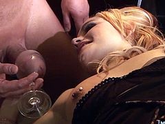 But a drink is not what hes looking for. She bends over and wags her bare ass is his face, and climbs up onto the table to ride his stiff prick. Once hes rock hard and lubed with poon honey, she pulls him into her tight rear tunnel, and groans as he plows into her horny anus.