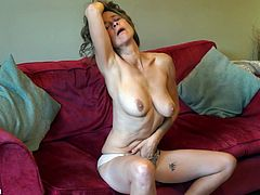 Mature British mom Josie with hairy hungry pussy