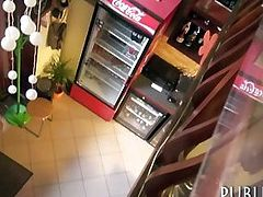 European waitress drilled for some money