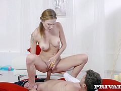 Super slim red head Belle Claire is fucked in her super juicy pussy