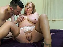 This chubby old lady with big, saggy tits and huge ass needs his hard penis right away, and she is ready for everything to get it inside of her bald, and already wet pussy. Just take a look how hard she sucks his erect cock