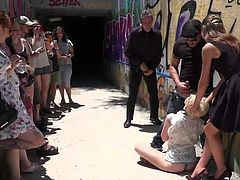 No one wants to help Molly, but every passerby is ready to shove his sweaty dick in her wideopened mouth. And this is not surprising, because this blonde slutty babe came here just for this generous portion of sexual humiliation and her tight pussy is already really wet.