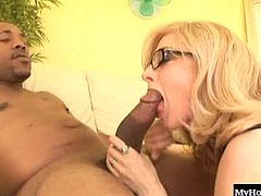 Nina Hartley wearing her stockings and garter belt, while giving Shorty a handjob, before she lays back and lets him stab his massive king dong into her totally shaved pussy, until she bends over, so he can see her asshole and booty before her cumshot.