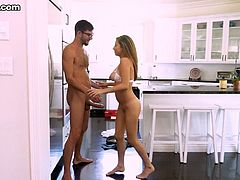 Beautiful housewife Nina North gets her anus rimmed before a passionate sex