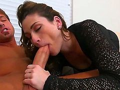 Skinny MILF in black top and bottomless white leggings begs for anal after cock sucking, She gives hot blowjob and then gets her butt drilled from behind. Nice clothed sex with easy lady!