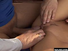 He insists on having hardcore sex with her. Soon, he gets her panties off and sucks on her clit until she gets an orgasm. Next, he squeezes her small bubble butt, while screwing her landing strip shaved snapper, until she gives him a blowjob and swallows about a quart of hot semen