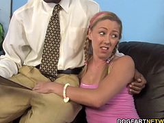 Daddy wathces her daughter take all of Jack's big black cock down her throat. Her tight teen pussy was somehow able to take on a black dick that was bigger and fatter than her forearm...