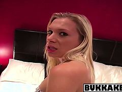 Kinky guys pleased by blonde cutie