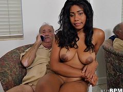 Busty Ebony Teen Tries Old Cock