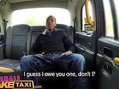 Female Fake Taxi Big black cock stretches sexy slim drivers tight holes