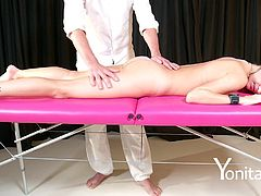 Hot ass Angel Pief fingered superbly in massage room