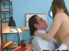 Young teen with pigtails sucks and fucks the teacher