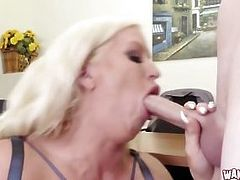 MILF fucks clerk in office