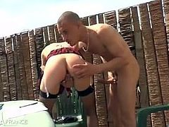 Pretty skinny amateur french brunette hard banged outdoor