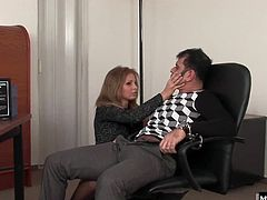 Gorgeous office slut Lauryn May just do not have another way to get new position. She only can sucks bosses dick ot get his cock inside her pussy.