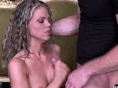 So, she meets them at the door wearing nothing at all. The guys pounce on this blonde, giving her more than a mouthful of their hard cocks. Trisha takes them in each of her holes, especially enjoying the double penetration, before sucking them both to climax so she can be showered in cum