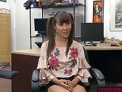 Slutty Asian Tiffany Rain fucks in the office for money